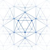 Icosahedron with block connect. Web of Atoms or blocks are connected. Symbol Science and Blockchain. Vector Illustration Stock Images