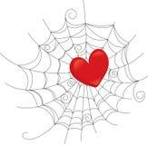Web attrapé par coeur Image stock