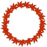 Web Autumn Logo Design guirnalda del otoño, marco redondo de las hojas de otoño coloreadas y bayas Elementos del dise?o gr?fico ilustración del vector