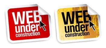 Web bajo etiquetas engomadas de la construcción. Fotografía de archivo libre de regalías