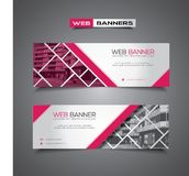 Web banner with abstract vector design, pink and white Stock Photography