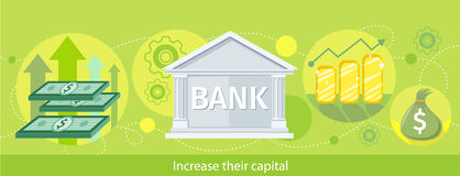 Web Banner of the Bank as Traditional Investor. Increase their capital. Detailed horizontal web banner of the bank as a traditional investor on the stylish Royalty Free Stock Image