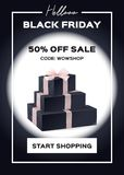 Web banner black Friday. Sale up to 50 percent. Discounts. Button to start shopping and promo code. Black background. Set of gift boxes. Realistic vector Stock Images