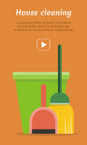 Web Banner Bucket, Duster, Broom and Dustpan Icon. Stock Images
