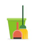 Web Banner Bucket, Duster, Broom and Dustpan Icon. Royalty Free Stock Image