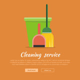 Web Banner Bucket, Duster, Broom and Dustpan Icon. Stock Photos