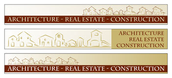 Web Banner - Business card. Web banner, business card - Real estate, architecture, construction company - Houses silhouettes - Labels useful royalty free illustration