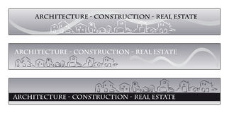 Web Banner - Business card. Web banner, business card - Real estate, architecture, construction company - Houses silhouettes and rainbow - Labels useful royalty free illustration