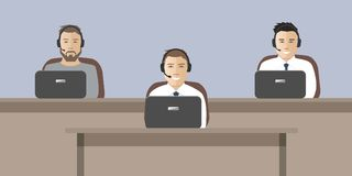 Web banner of call center workers vector illustration