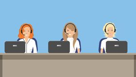 Web banner of call center workers Royalty Free Stock Photo