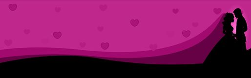 Web Banner Couple in love. Man and woman in love looking each other on pink / purple background Website header / banner Stock Photo