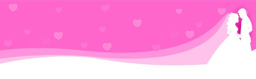 Web Banner Couple in love. Man and woman in love looking each other on pink / purple background Website header / banner Royalty Free Stock Photography