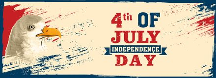 Web banner design with Bald Eagle, and 4th of July, Independence. Day on beige background Royalty Free Stock Photos