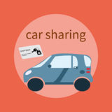 Web banner design for car sharing site or advertisement. Vector ad background of car sharing services Stock Photo