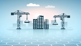 Web banner design with construction site silhouettes Royalty Free Stock Image