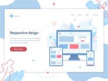 Responsive design web banner. Web banner design template. Responsive design. Web development. Business concept. Flat vector illustration stock illustration