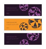 Web banner design template set consisting of abstract backgrounds made triangle shapes. In technology abstraction. Decorative and geometric vector art in yellow royalty free illustration