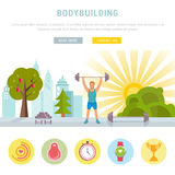 Web Banner Fitness or Bodybuilding Stock Image