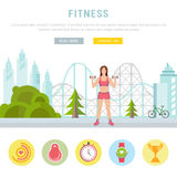 Web Banner Fitness or Bodybuilding Stock Photography