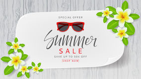 Web banner with flowers for summer sale Stock Photography
