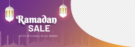 Web banner with hanging illuminated lanterns and space for your. Image. Ramadan Sale concept Royalty Free Stock Photos