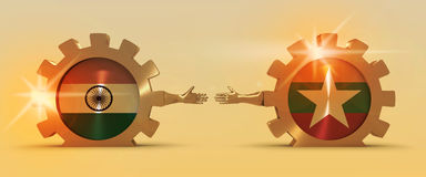 Web Banner, Header Layout Template. Politic and economic relationship between India and Myanmar Stock Image