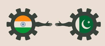 Web Banner, Header Layout Template. Politic and economic relationship between India and Pakistan Stock Photos