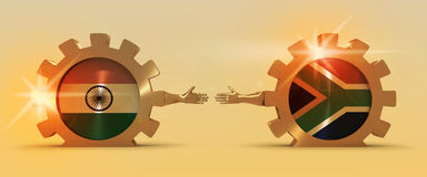 Web Banner, Header Layout Template. Politic and economic relationship between India and South Africa Stock Photography
