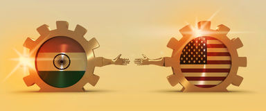 Web Banner, Header Layout Template. Politic and economic relationship between India and USA. National flags on cog wheels. Golden material. 3D rendering Stock Photography