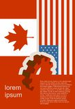 Web Banner, Header Layout Template. Politic, economic relationship between USA and Canada Stock Images