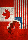 Web Banner, Header Layout Template. Politic, economic relationship between USA and Canada Stock Photo