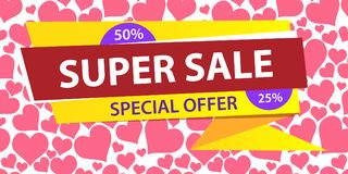 Web banner horizontal. Super sale special offer, 50, 25 percent. Vector illustration for poster or flyers, super sale. template design yellow banner sale Stock Photos