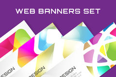 Web banner infographic template set. Processes Stock Photo
