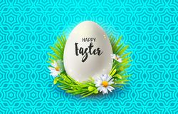 Easter and realistic egg in grass Royalty Free Stock Photography