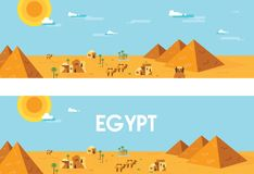 Web banner. Landscape of ancient egypt. Editable Vector Illustration Stock Photos
