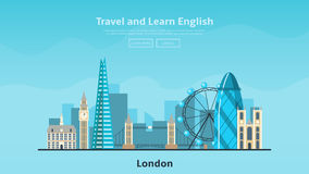 Web banner of language school. Background with modern flat design of urban landscape with city buildings of London. Vector illustration Royalty Free Stock Photography