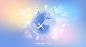 Web banner of map navigation Stock Photography