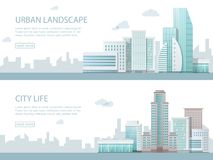 Web banner modern vector illustration of urban landscape with buildings, shop and stores, transport. Flat city. Royalty Free Stock Images
