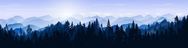Snowy mountain landscape. Vector blue silhouette of mountains, hills and forest. Holiday background with pine, spruce, Christmas