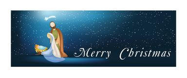 Web banner nativity scene with holy family - merry christmas -on blue background. Vector illustration with holy family, comet, manger and stars Royalty Free Stock Photos