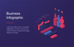 Web banner with neon light and modern 3d isometric infographic for your business presentations. Isometric gradient style. Home page concept. UI design mockup Stock Photography