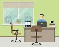 Web banner of an office worker. The man is an employee at work. There is furniture in beige color on a window background. Vector illustration Stock Photos