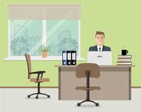 Web banner of an office worker. The man is an employee at work. There is furniture in beige color on a window background. Vector flat illustration Royalty Free Stock Image