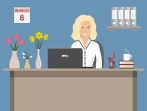 Web banner of an office worker on 8 March. The young woman sitting at the desk on a blue background. There is office objects and vases with flowers on the Royalty Free Stock Images