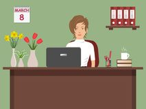 Web banner of an office worker on 8 March. The young woman sitting at the desk on a green background. There is office objects and vases with flowers on the Stock Photos