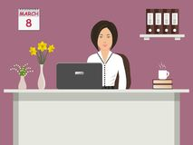 Web banner of an office worker on 8 March. The young woman sitting at the desk on a purple background. There is office objects and vases with flowers on the Stock Images