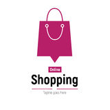 Web banner Online Shopping with shopping bag. Vector illustation Royalty Free Stock Photos