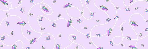 Web banner pattern from crystal rainbow quartz in pastel colors royalty free stock photo