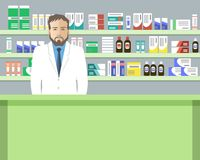 Web banner of a pharmacist. Young man in the workplace in a pharmacy: standing in front of shelves with medicines. Vector illustration Royalty Free Stock Image