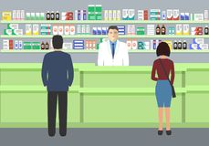 Web banner of a pharmacist. Young man at the workplace in a pharmacy. Standing in front of shelves with medicines.There are also visitors here. Vector Royalty Free Stock Photo